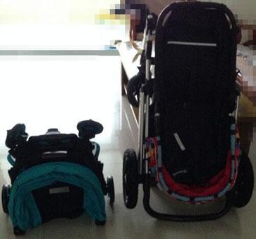 bair婴儿车折叠后不占空间,对比图