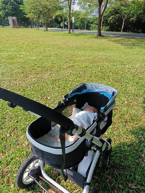 新生儿躺婴儿推车里,推出去玩。